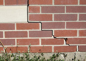 a foundation wall crack on a New Castle home.