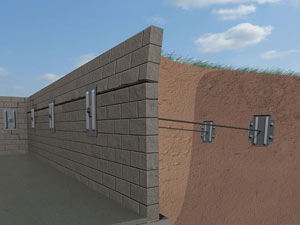 A graphic illustration of a foundation wall system installed in Greenfield